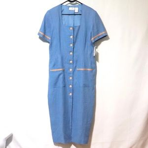 Vintage Liz Claiborne linen midi dress nautical 16